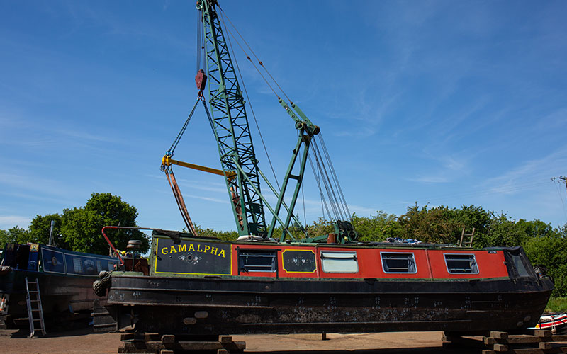 Narrowboat being repaired